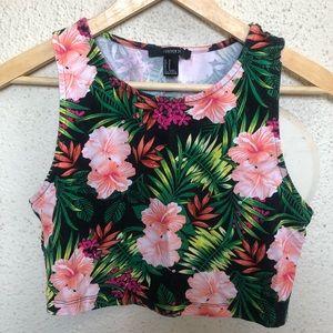 Tropical Print Crop Top